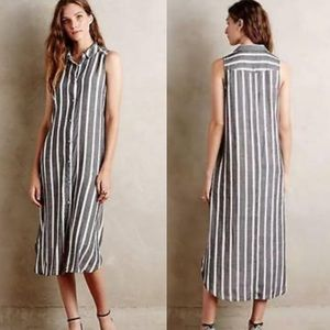 AnthroHolding Horses Gray White Stripe Midi Dress